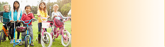 image of children on bikes